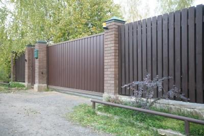 Откатные ворота профнастил и калитка СНТ Лира