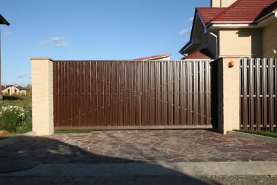Откатные ворота из металлоштакетника 4000х2000 КП Артек 95000 руб
