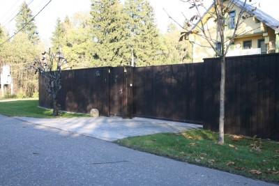 Откатные ворота и калитка из дерева 2007г. СНТ Композиторы